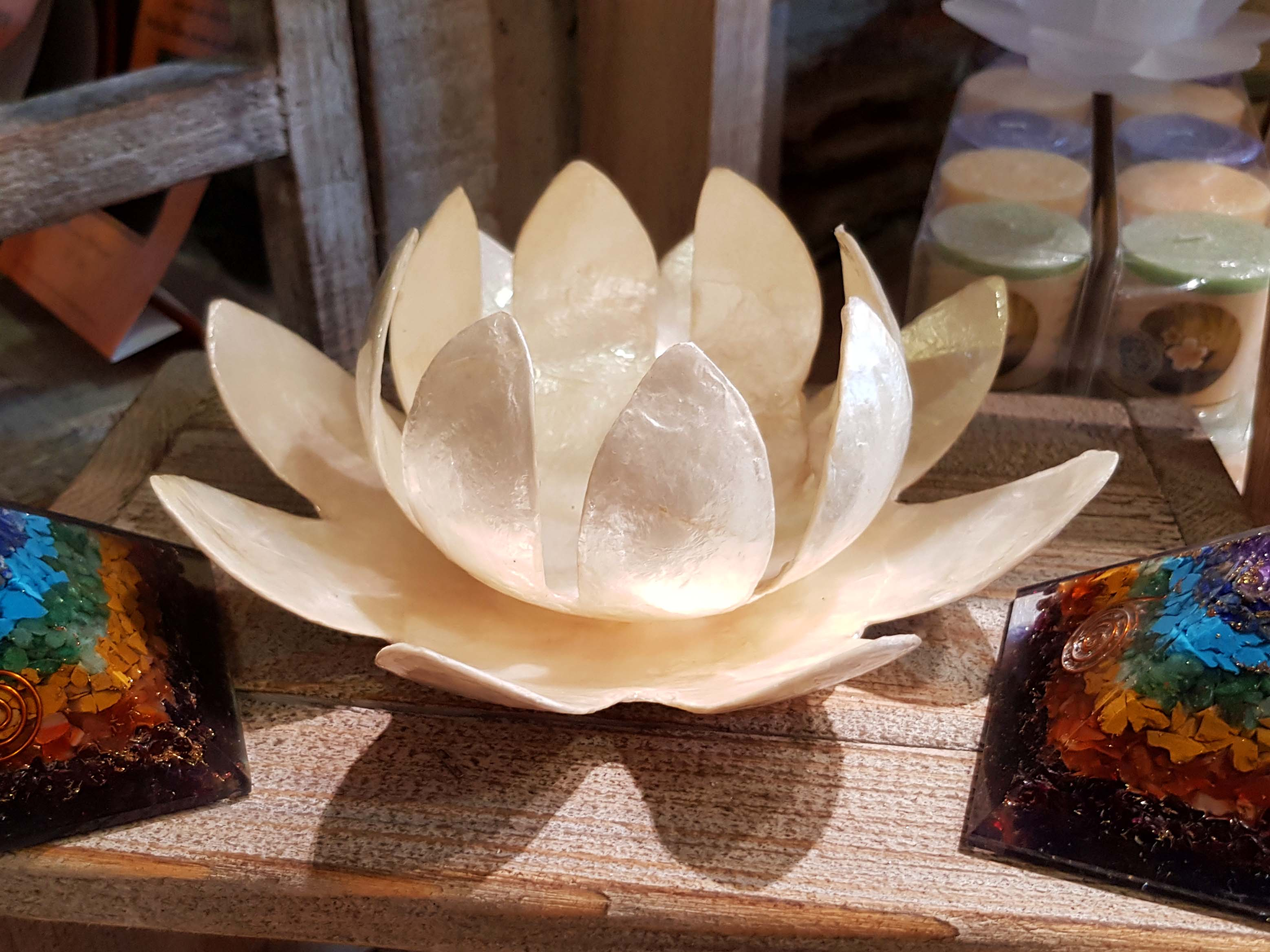 bougeoir lotus nacre