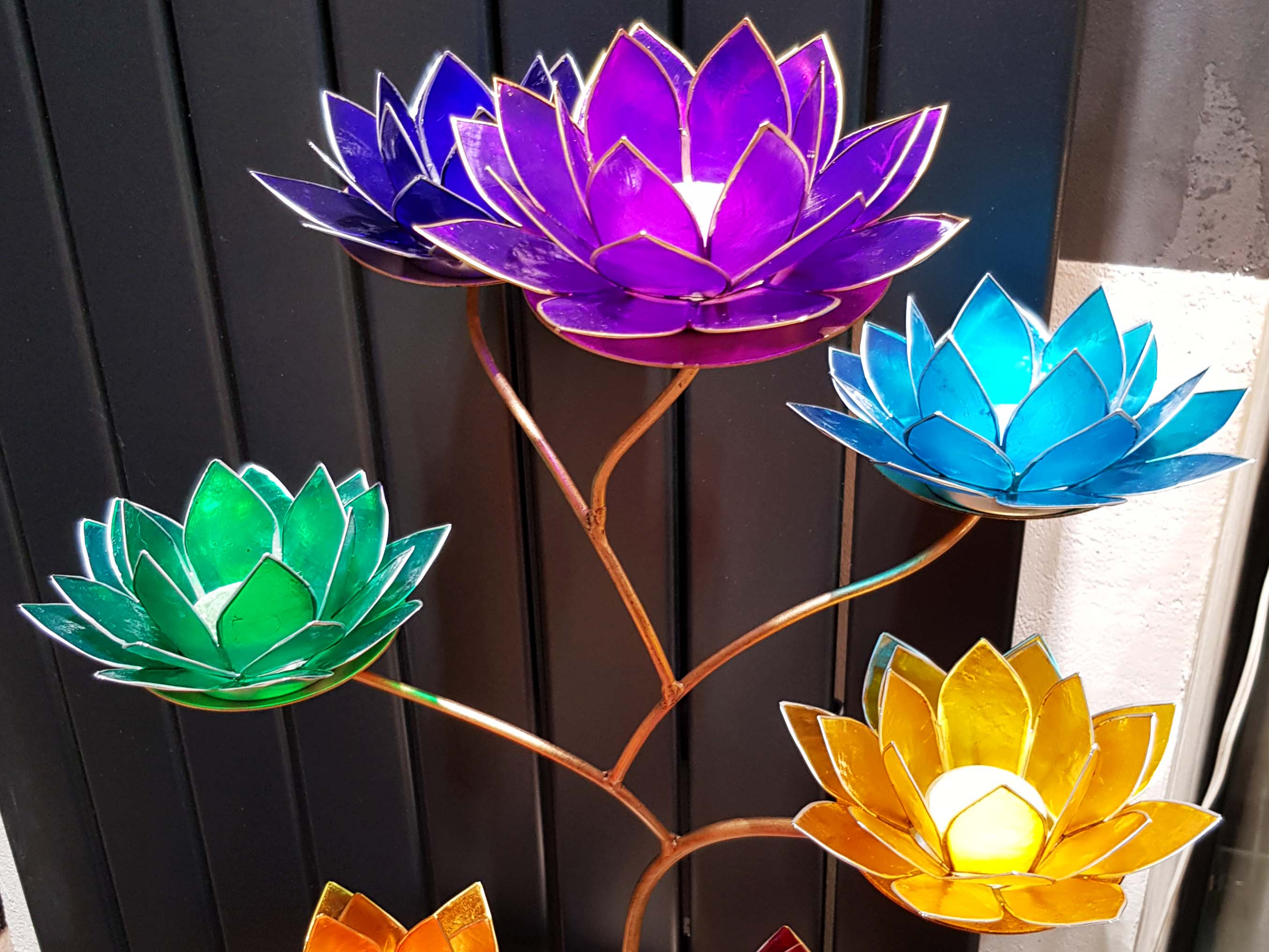 chandelier bougeoirs lotus
